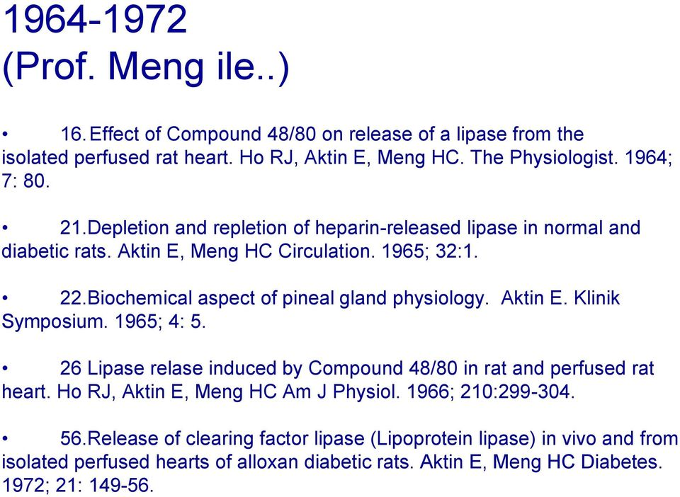 Biochemical aspect of pineal gland physiology. Aktin E. Klinik Symposium. 1965; 4: 5. 26 Lipase relase induced by Compound 48/80 in rat and perfused rat heart.