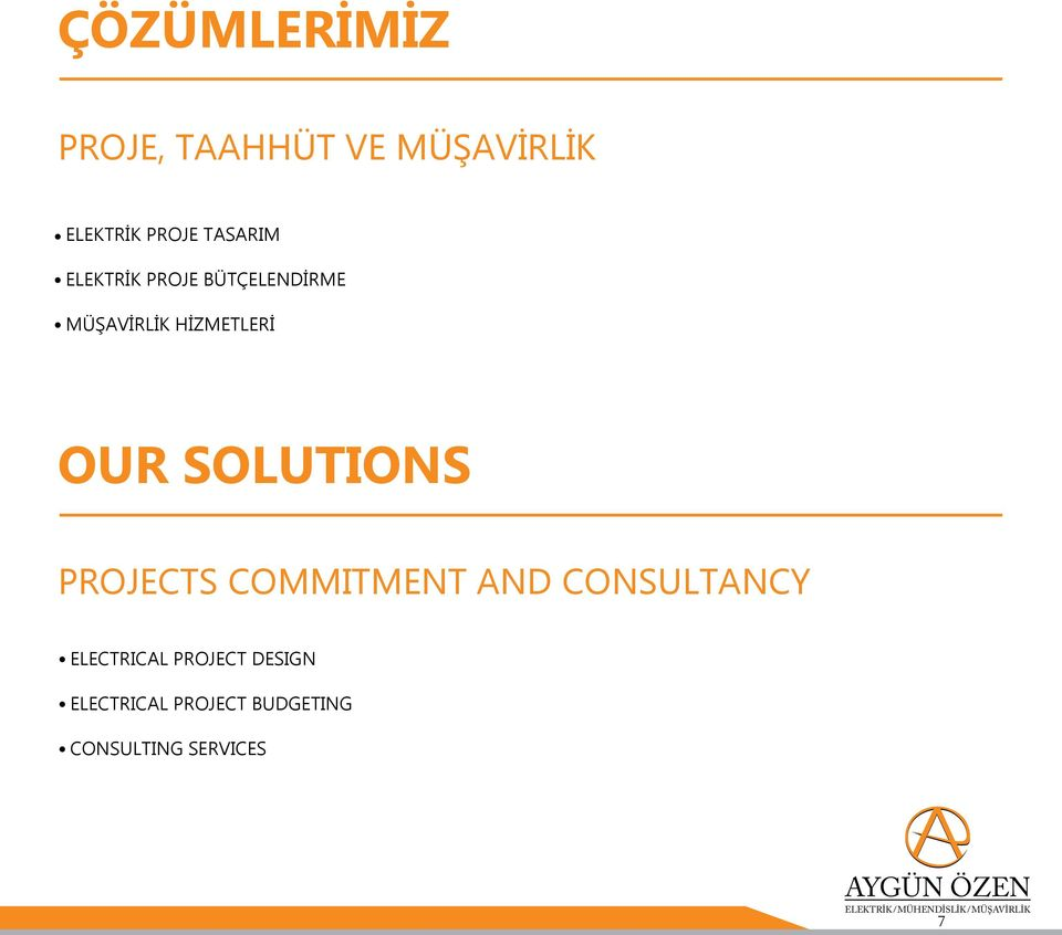 PROJECTS COMMITMENT AND CONSULTANCY Electrical project design Electrıcal