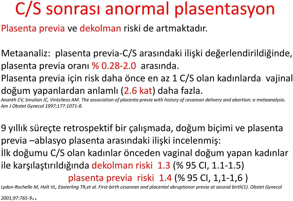 The association of placenta previa with history of cesarean delivery and abortion: a metaanalysis. Am J Obstet Gynecol 1997;177:1071-8.