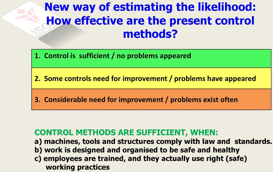 Considerable need for improvement / problems exist often CONTROL METHODS ARE SUFFICIENT, WHEN: a) machines, tools and