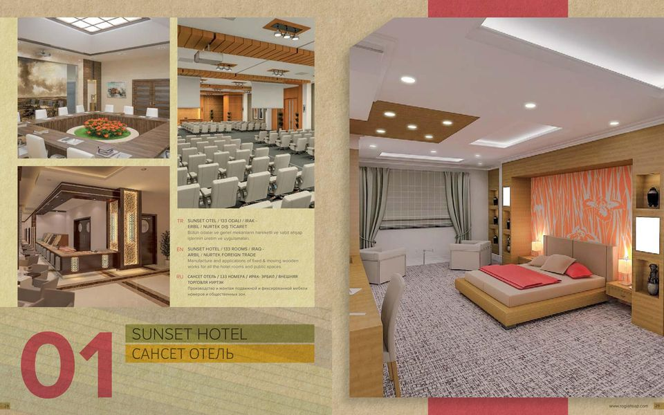 EN RU SUNSET HOTEL / 133 ROOMS / IRAQ - ARBIL / NURTEK FOREIGN TRADE Manufacture and applications of fixed & moving wooden works
