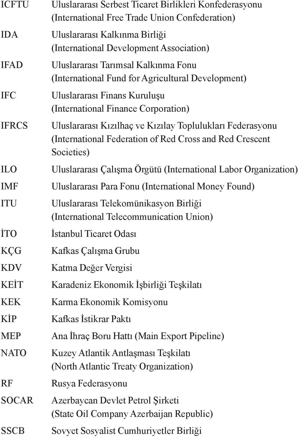 Corporation) Uluslararası Kızılhaç ve Kızılay Toplulukları Federasyonu (International Federation of Red Cross and Red Crescent Societies) Uluslararası Çalışma Örgütü (International Labor