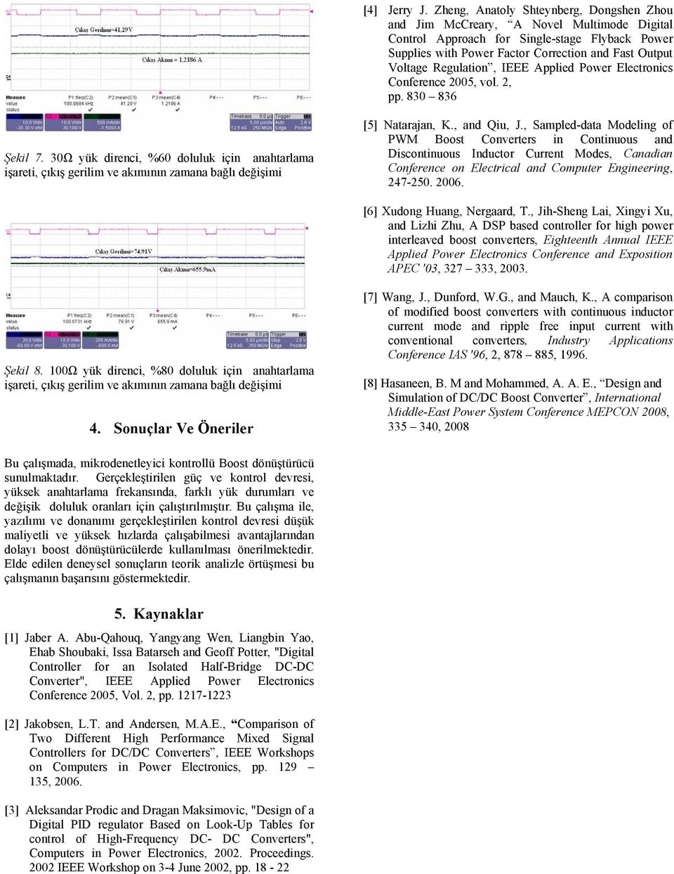 Regulation, IEEE Applied Power Electronics Conference 2005, vol. 2, pp. 830 836 Şekil 7. 30Ω yük direnci, %60 doluluk için anahtarlama [5] Natarajan, K., and Qiu, J.