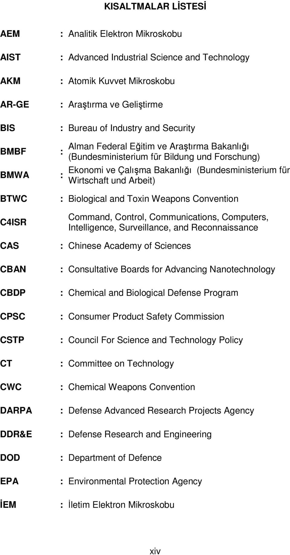 CAS CBAN CBDP CPSC CSTP CT CWC DARPA DDR&E DOD EPA İEM : Biological and Toxin Weapons Convention Command, Control, Communications, Computers, Intelligence, Surveillance, and Reconnaissance : Chinese