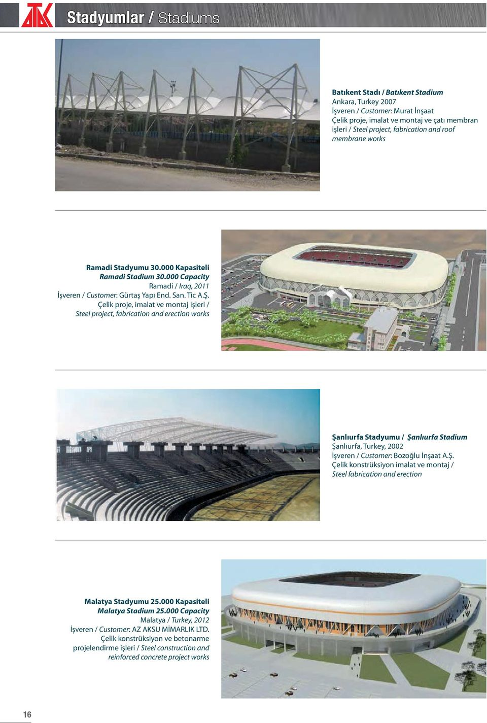 Çelik proje, imalat ve montaj işleri / Steel project, fabrication and erection works Şanlıurfa Stadyumu / Şanlıurfa Stadium Şanlıurfa, Turkey, 2002 İşveren / Customer: Bozoğlu İnşaat A.Ş. Çelik konstrüksiyon imalat ve montaj / Steel fabrication and erection Malatya Stadyumu 25.