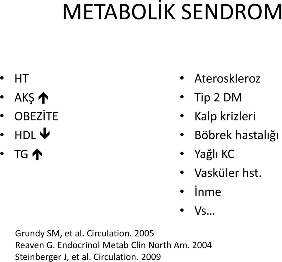 İnme Vs Grundy SM, et al. Circulation. 2005 Reaven G.