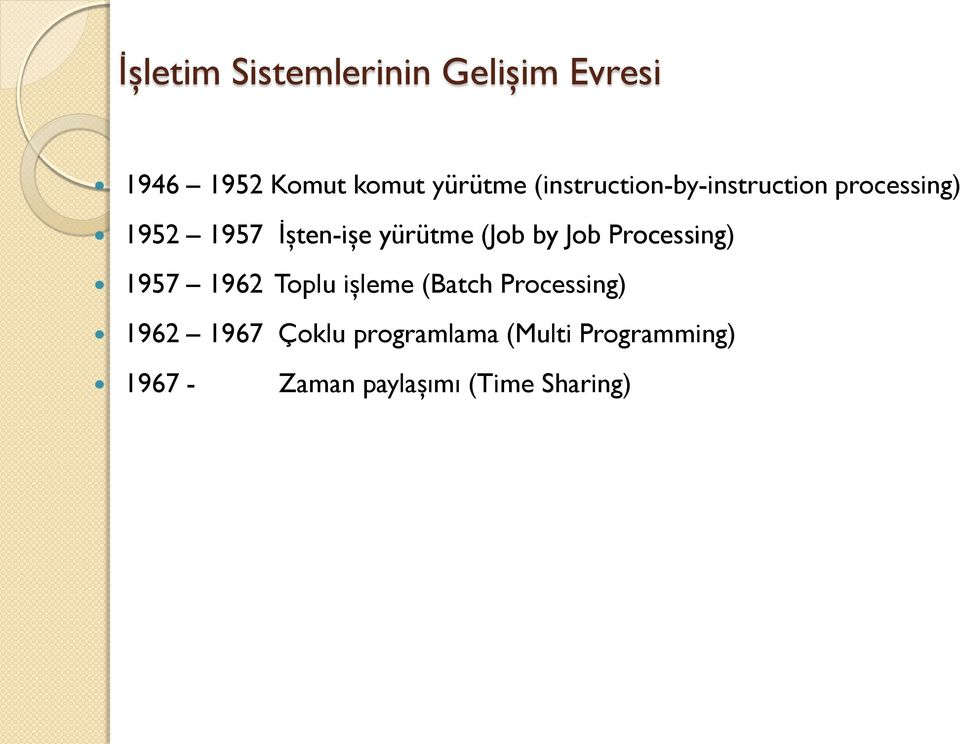 (Job by Job Processing) 1957 1962 Toplu işleme (Batch Processing) 1962