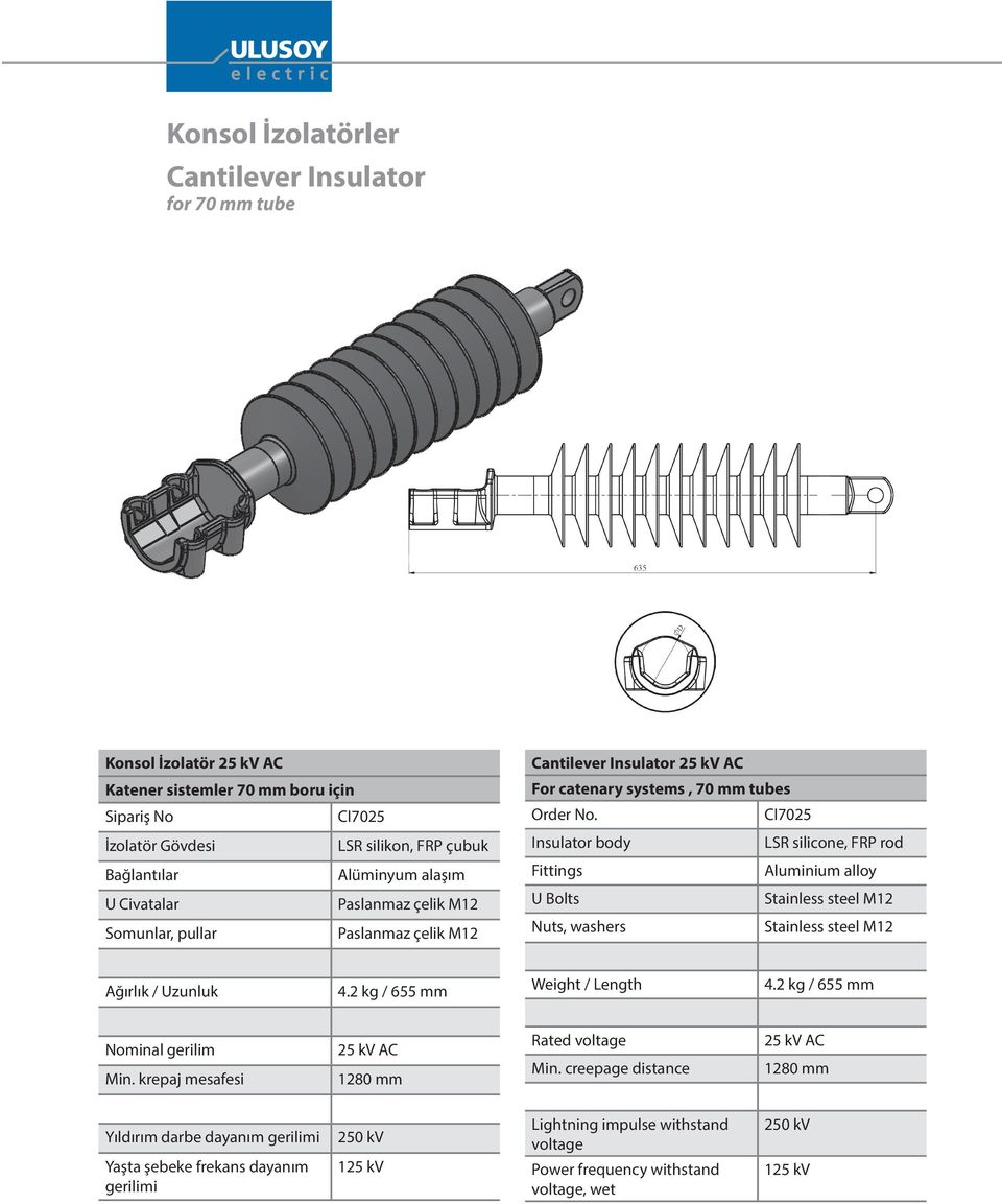 CI7025 Insulator body LSR silicone, FRP rod s Aluminium alloy U Bolts Stainless steel M12 Nuts, washers Stainless steel M12 / Uzunluk 4.2 kg / 655 mm / Length 4.2 kg / 655 mm Nominal gerilim Min.