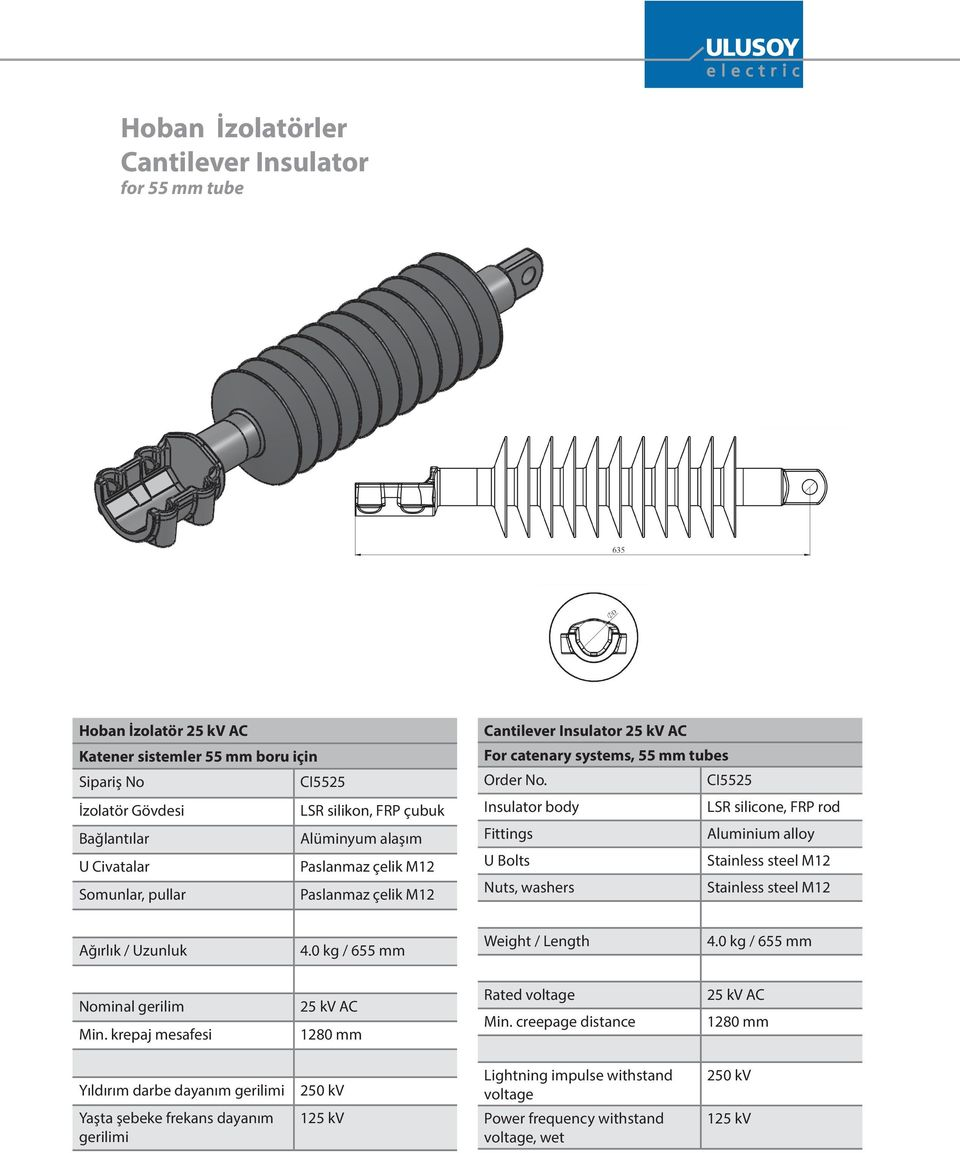 CI5525 Insulator body LSR silicone, FRP rod s Aluminium alloy U Bolts Stainless steel M12 Nuts, washers Stainless steel M12 / Uzunluk 4.0 kg / 655 mm / Length 4.0 kg / 655 mm Nominal gerilim Min.