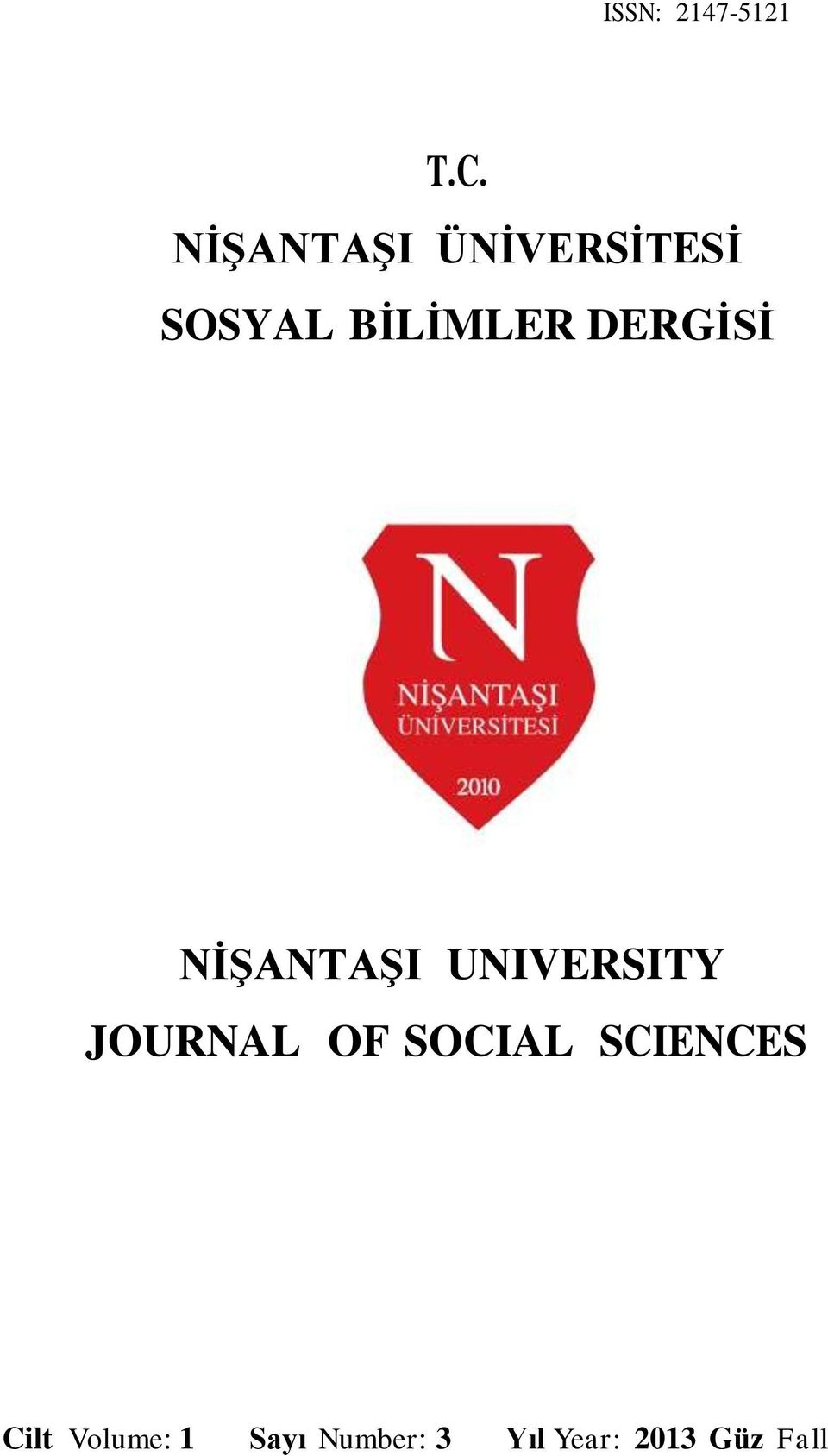 DERGİSİ NİŞANTAŞI UNIVERSITY JOURNAL OF