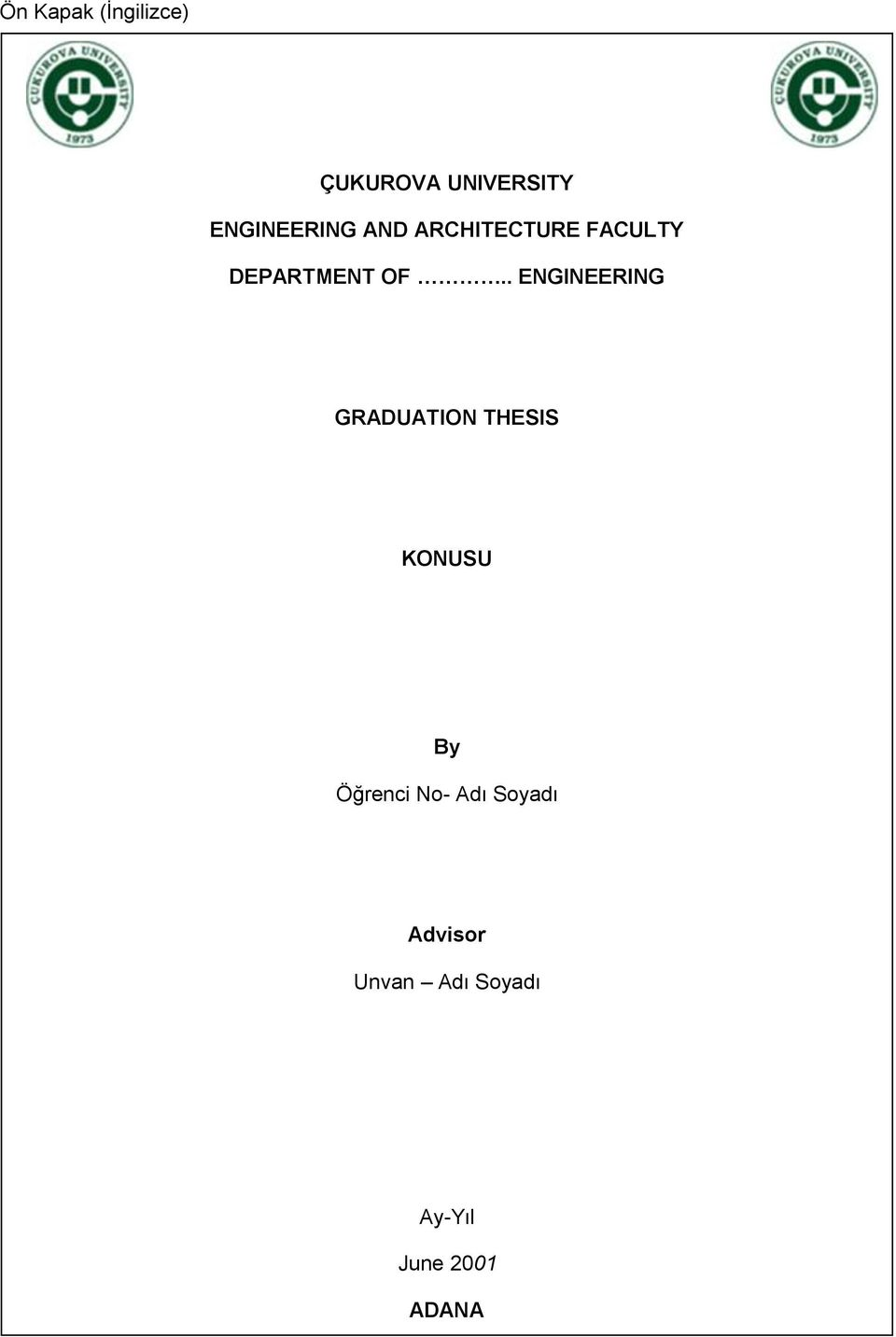 . ENGINEERING GRADUATION THESIS KONUSU By Öğrenci