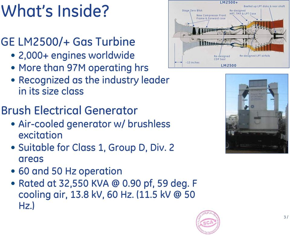 LM2500/+ Gas Turbine 2,000+ engines worldwide More than 97M operating hrs Recognized as the industry leader in its size class ~13 inches