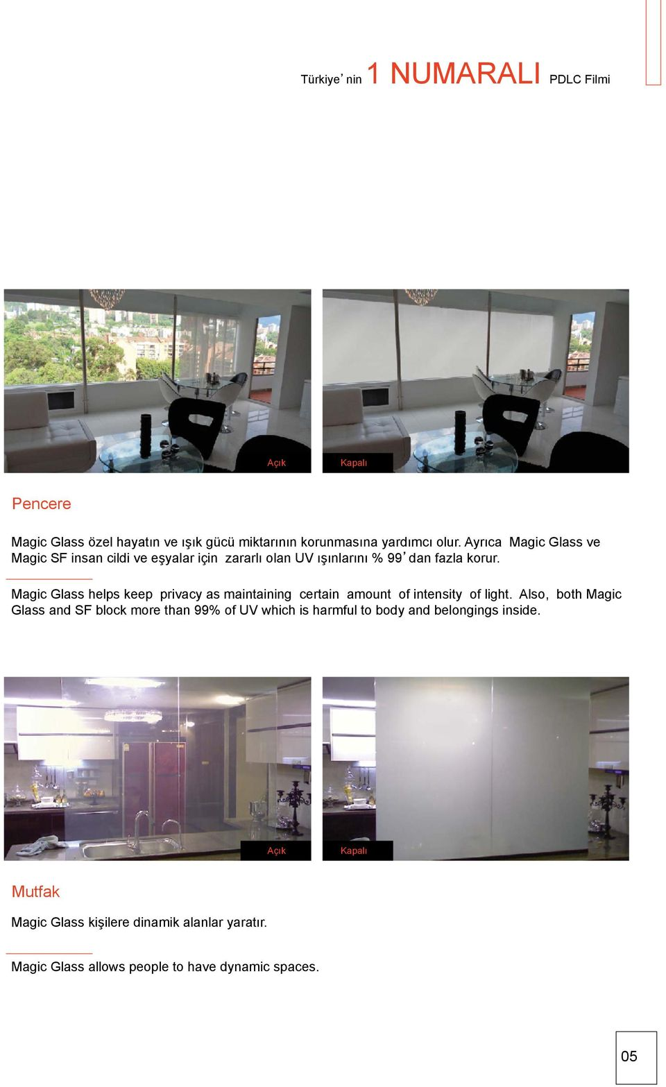 Magic Glass helps keep privacy as maintaining certain amount of intensity of light.