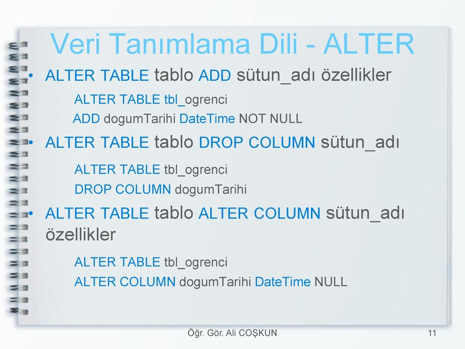 sütun_adı ALTER TABLE tbl_ogrenci DROP COLUMN dogumtarihi ALTER TABLE tablo ALTER
