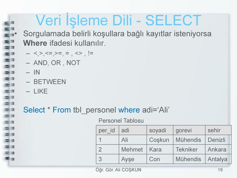 = AND, OR, NOT IN BETWEEN LIKE Select * From tbl_personel where adi= Ali Personel