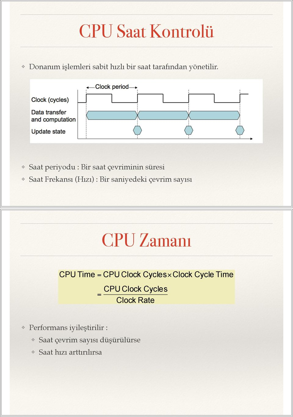 çevrim sayısı CPU Zamanı CPU Time CPU Clock Cycles Clock Cycle Time CPU Clock Cycles