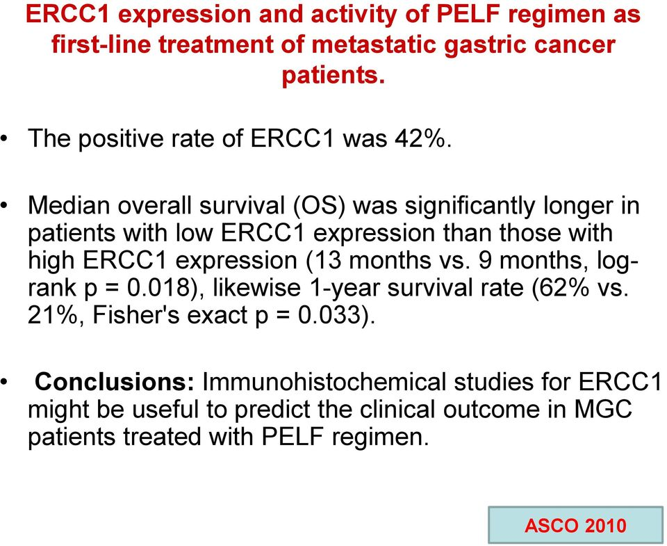 Median overall survival (OS) was significantly longer in patients with low ERCC1 expression than those with high ERCC1 expression (13