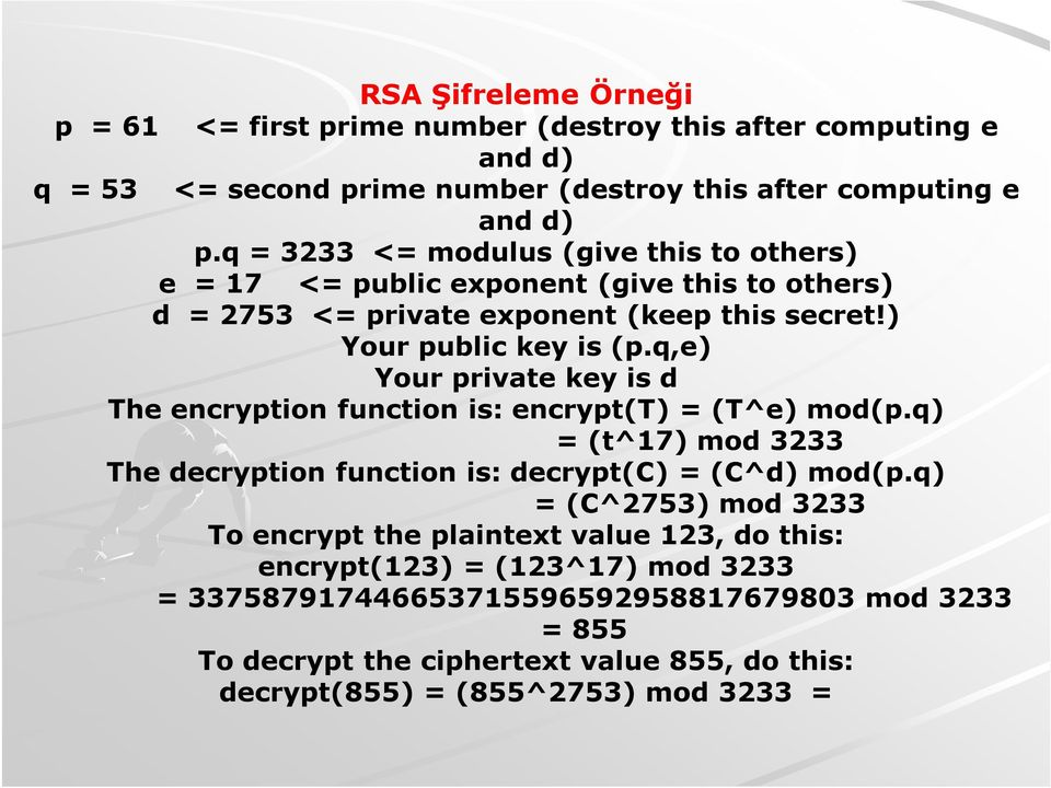 q,e) Your private key is d The encryption function is: encrypt(t) = (T^e) mod(p.q) = (t^17) mod 3233 The decryption function is: decrypt(c) = (C^d) mod(p.