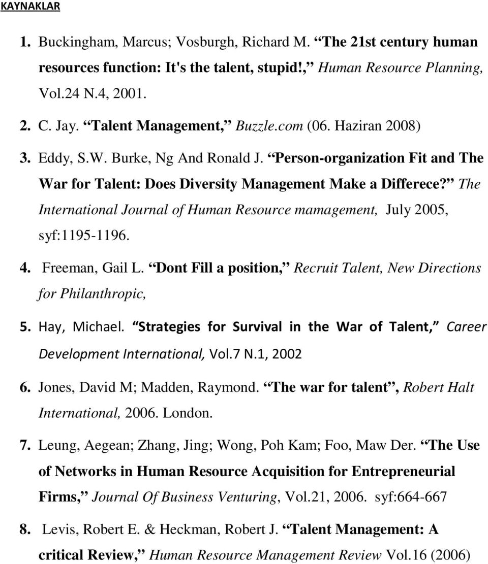 The International Journal of Human Resource mamagement, July 2005, syf:1195-1196. 4. Freeman, Gail L. Dont Fill a position, Recruit Talent, New Directions for Philanthropic, 5. Hay, Michael.