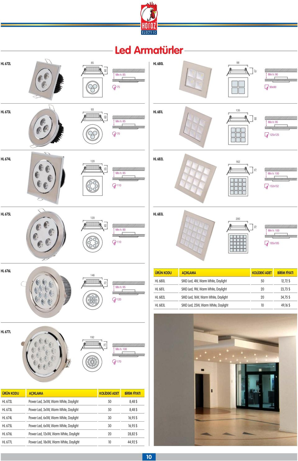 Warm White, Daylight 20 34,75 $ HL 683L SMD Led, 25W, Warm White, Daylight 10 49,16 $ HL 677L 192 75 Min h: 100 185x185 Min h: 100 170 HL 672L Power Led, 3x1W, Warm White, Daylight 50 8,48 $ HL 673L