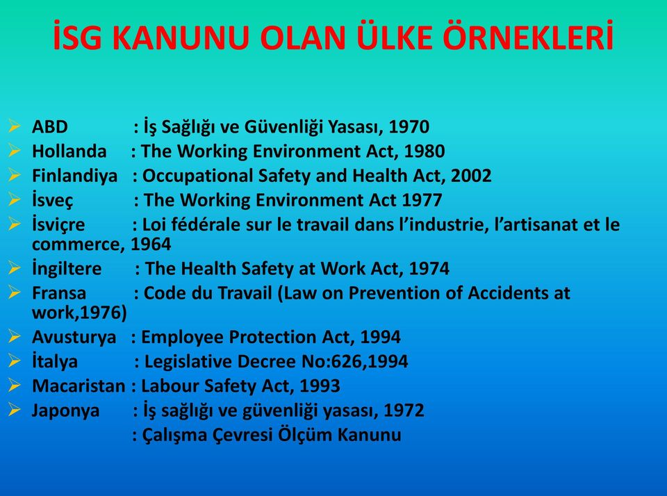 İngiltere : The Health Safety at Work Act, 1974 Fransa : Code du Travail (Law on Prevention of Accidents at work,1976) Avusturya : Employee Protection