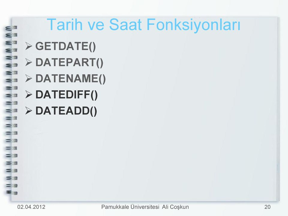 GETDATE() DATEPART()