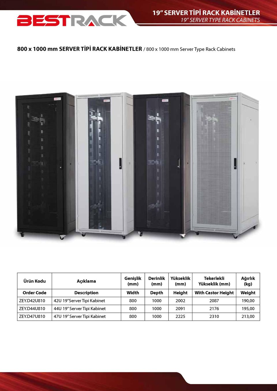 Castor Height Weight ZEY.D42U810 42U 19 Server Tipi Kabinet 800 1000 2002 2087 190,00 ZEY.