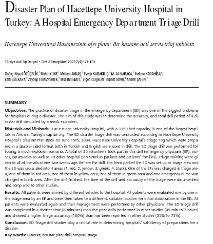 Objectives: The practice of disaster triage in the emergency department (ED) was one of the biggest problems for hospitals during a