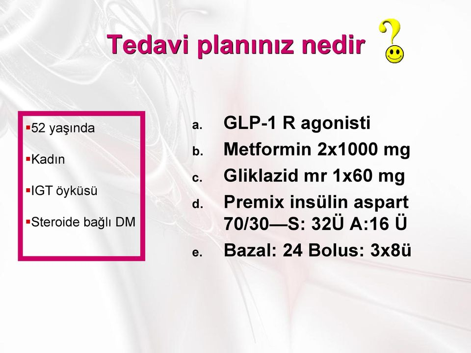 Metformin 2x1000 mg c. Gliklazid mr 1x60 mg d.