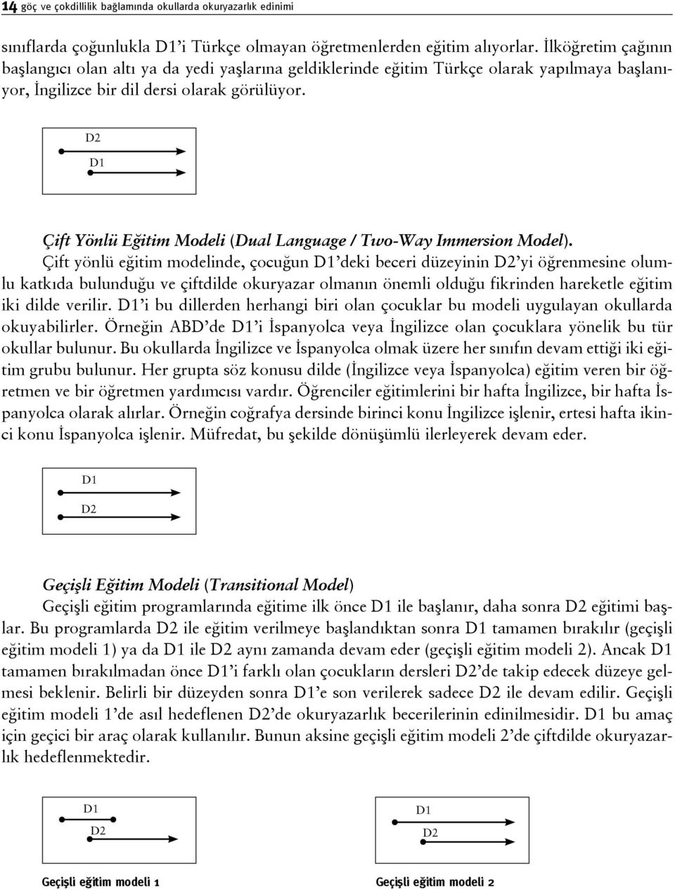 D2 D1 Çift Yönlü Eğitim Modeli (Dual Language / Two-Way Immersion Model).