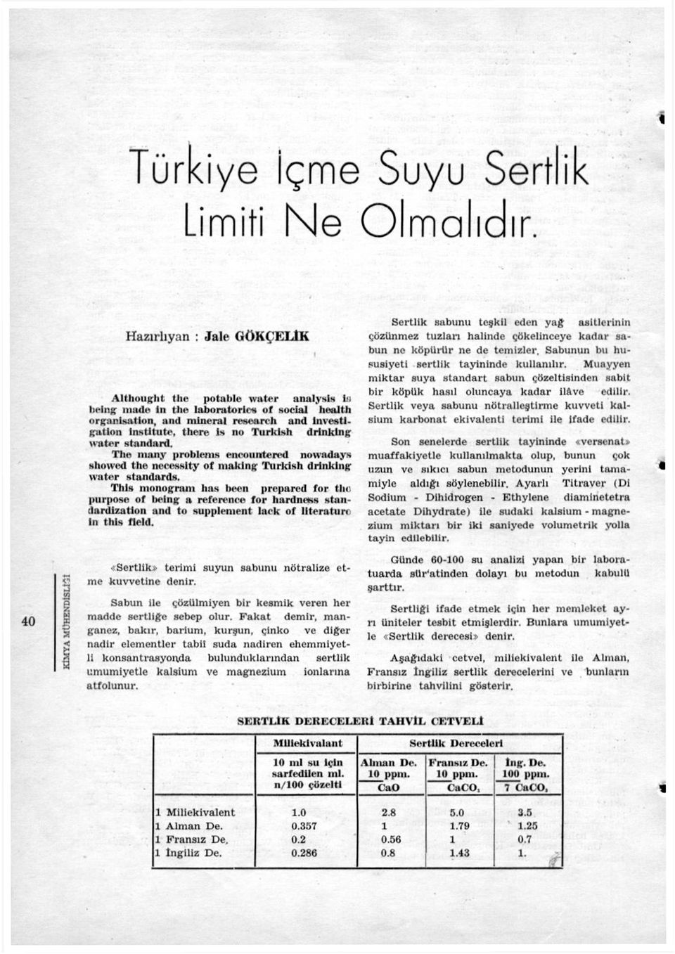 no Turklsh drinklng water standard. The ıııany problenıs eneounıterrd notvndays showed the necesslty of makini; Tıırkish drinklng \valer slaıulards. Tlıls monogram has been prepared for the.