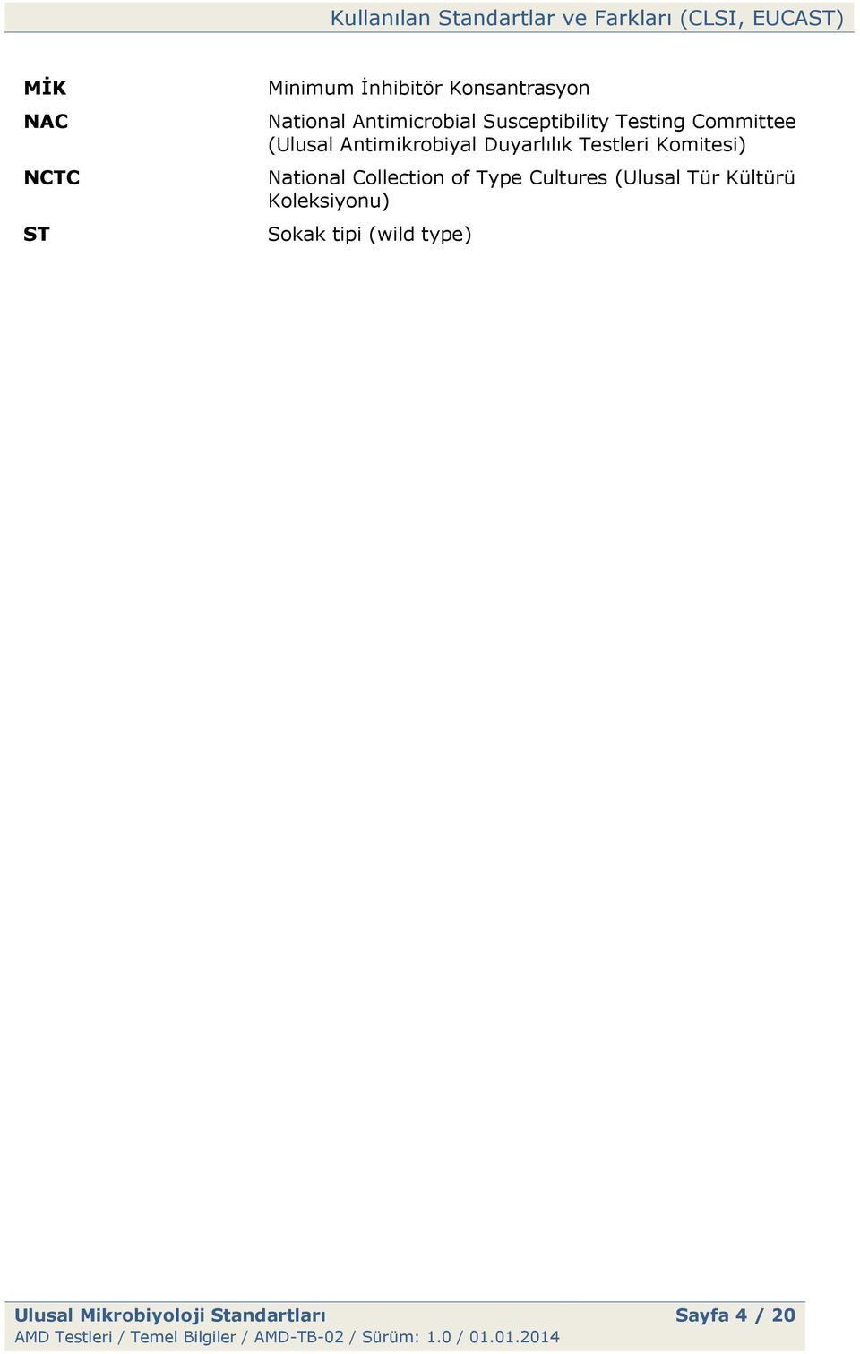 Testleri Komitesi) National Collection of Type Cultures (Ulusal Tür