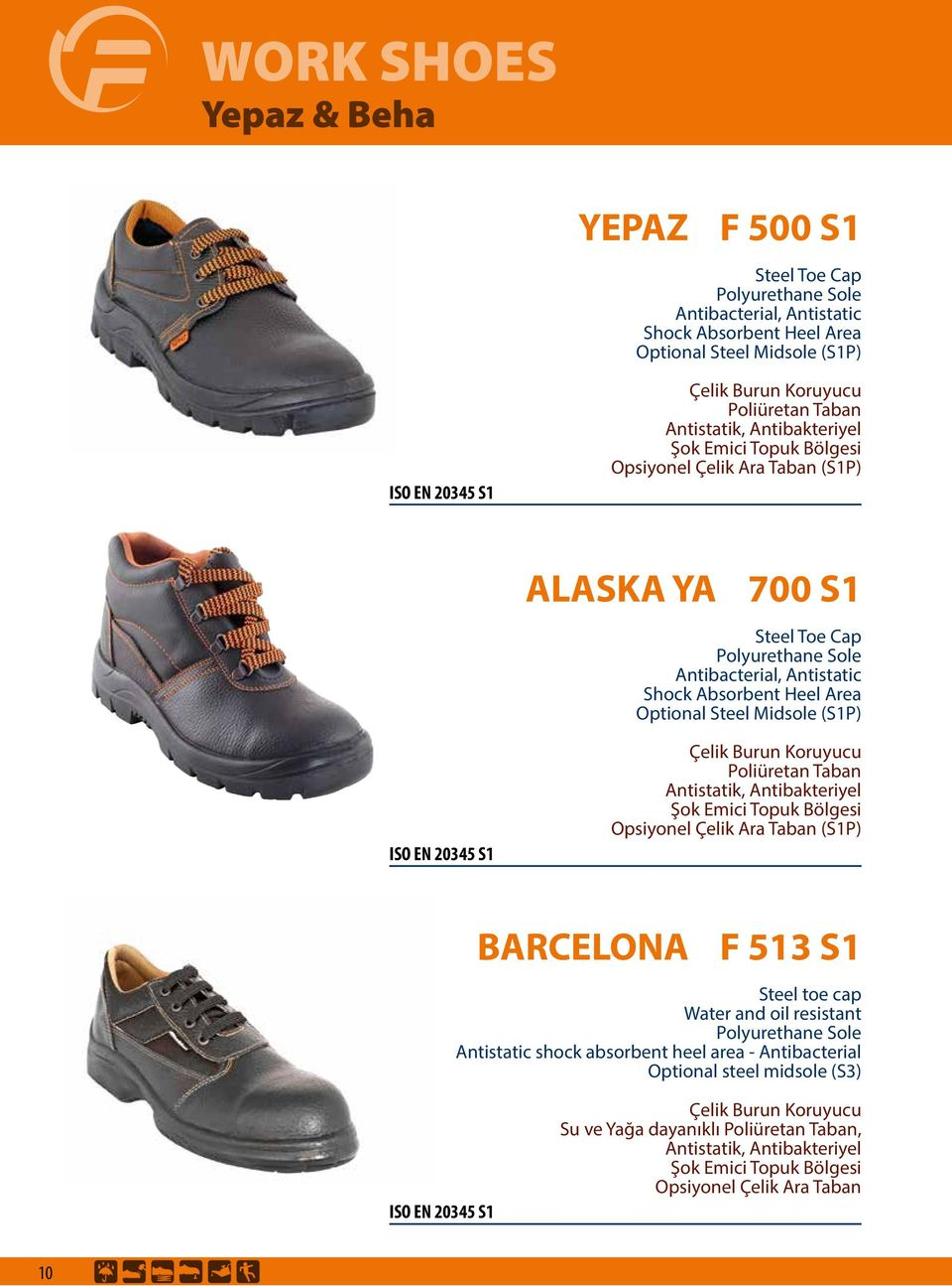 Midsole (S1P) BARCELONA F 513 S1 Steel toe cap Water and oil resistant Antistatic shock absorbent