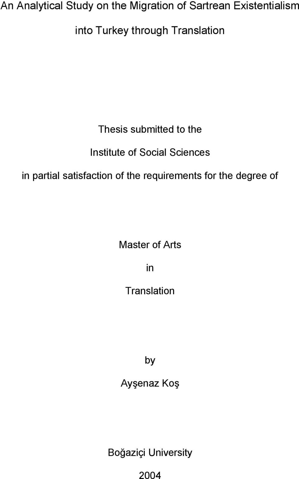 Social Sciences in partial satisfaction of the requirements for the