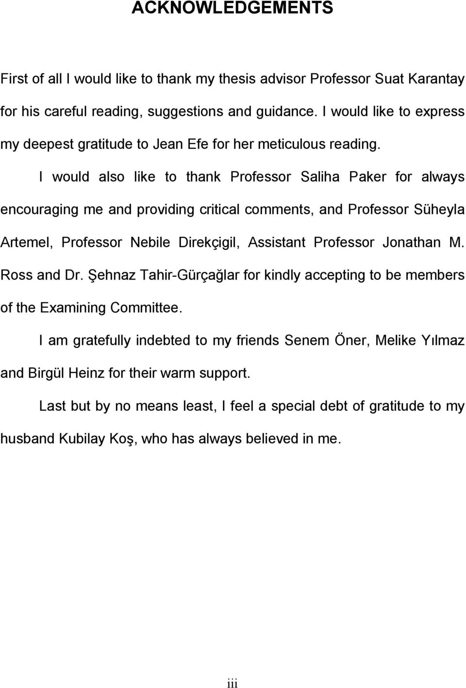 I would also like to thank Professor Saliha Paker for always encouraging me and providing critical comments, and Professor Süheyla Artemel, Professor Nebile Direkçigil, Assistant Professor