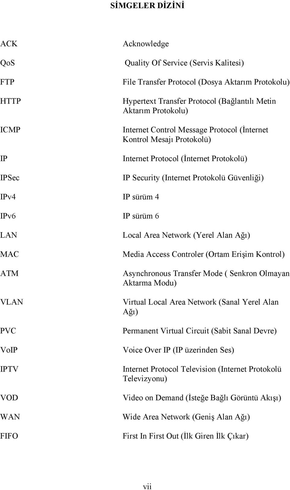 MAC ATM VLAN PVC VoIP IPTV VOD WAN FIFO Local Area Network (Yerel Alan Ağı) Media Access Controler (Ortam Erişim Kontrol) Asynchronous Transfer Mode ( Senkron Olmayan Aktarma Modu) Virtual Local Area