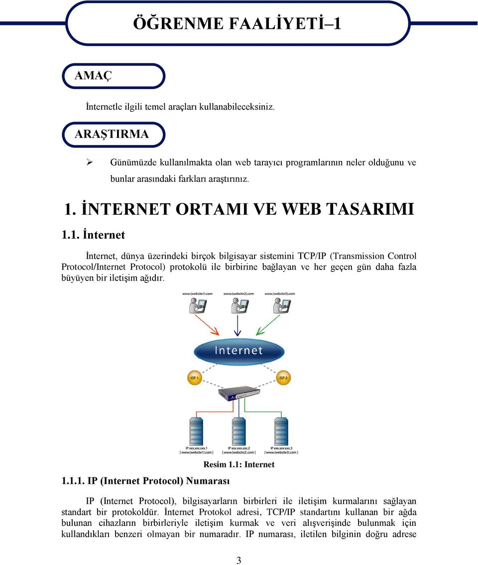 İNTERNET ORTAMI VE WEB TASARIMI 1.