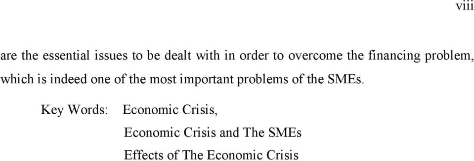 most important problems of the SMEs.