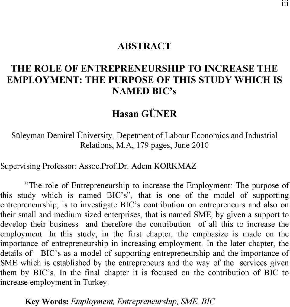 Adem KORKMAZ The role of Entrepreneurship to increase the Employment: The purpose of this study which is named BIC s, that is one of the model of supporting entrepreneurship, is to investigate BIC s