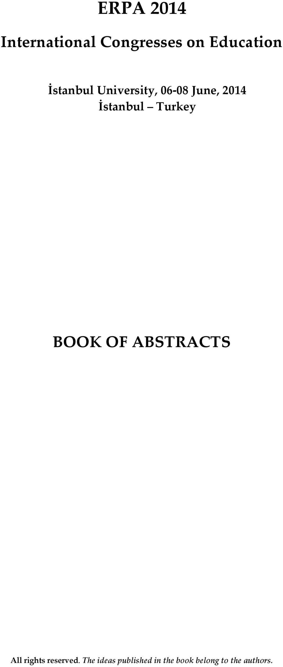 2014 İstanbul BOOK OF ABSTRACTS All rights