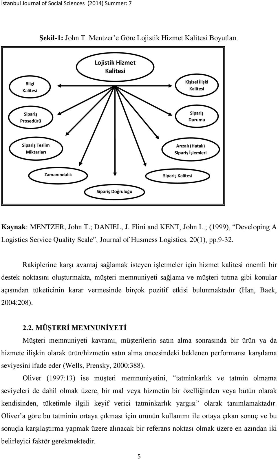 Doğruluğu Kaynak: MENTZER, John T.; DANIEL, J. Flini and KENT, John L.; (1999), Developing A Logistics Service Quality Scale, Journal of Husmess Logistics, 20(1), pp.932.