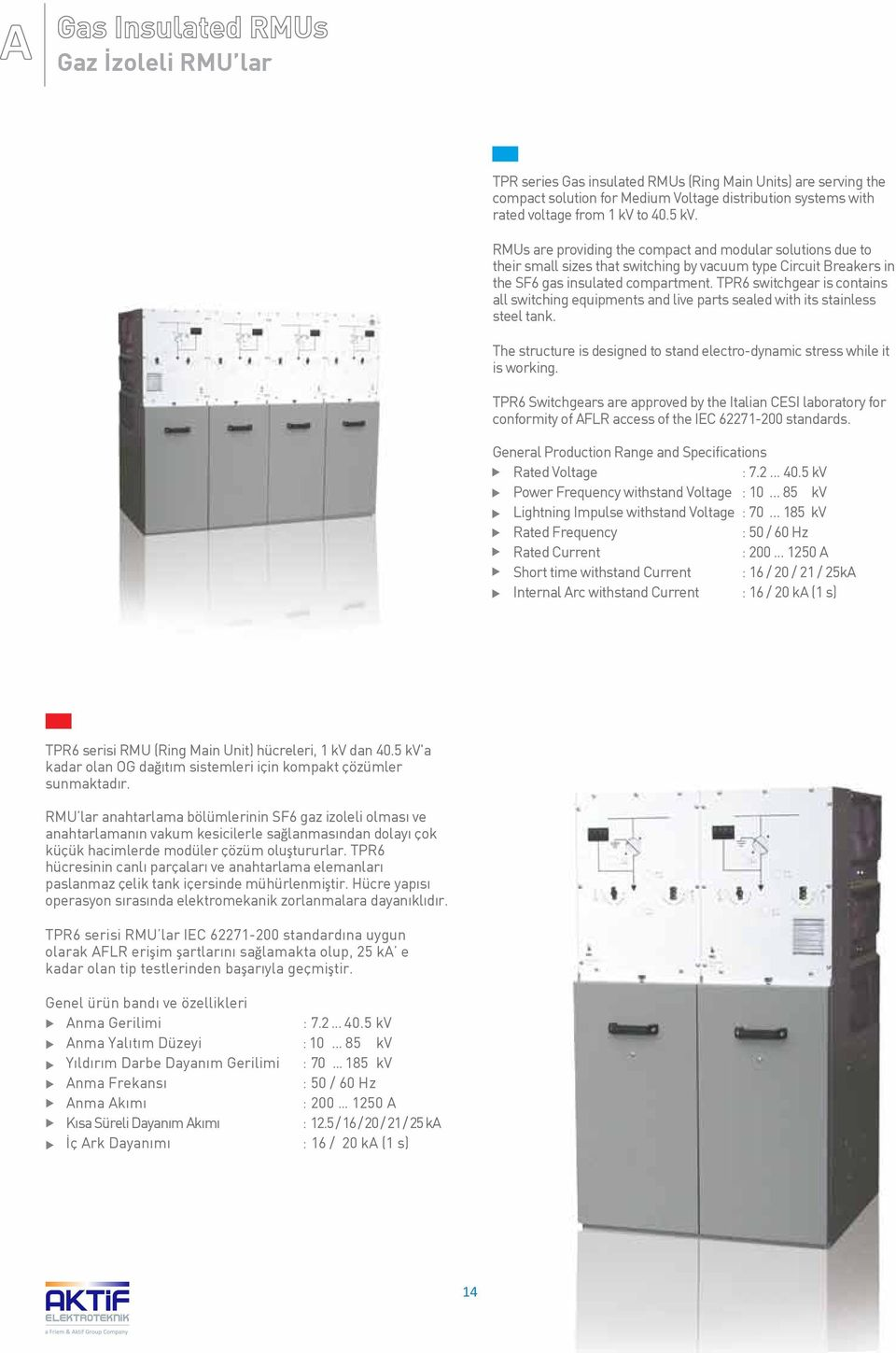 TPR6 switchgear is contains all switching equipments and live parts sealed with its stainless steel tank. The structure is designed to stand electro-dynamic stress while it is working.