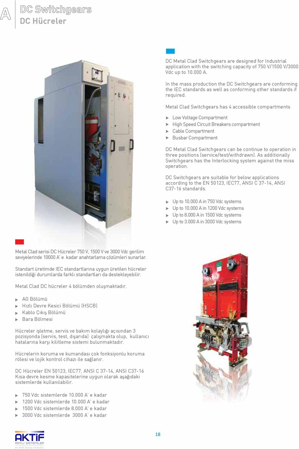 Metal Clad Switchgears has 4 accessible compartments Low Voltage Compartment High Speed Circuit Breakers compartment Cable Compartment Busbar Compartment DC Metal Clad Switchgears can be continue to