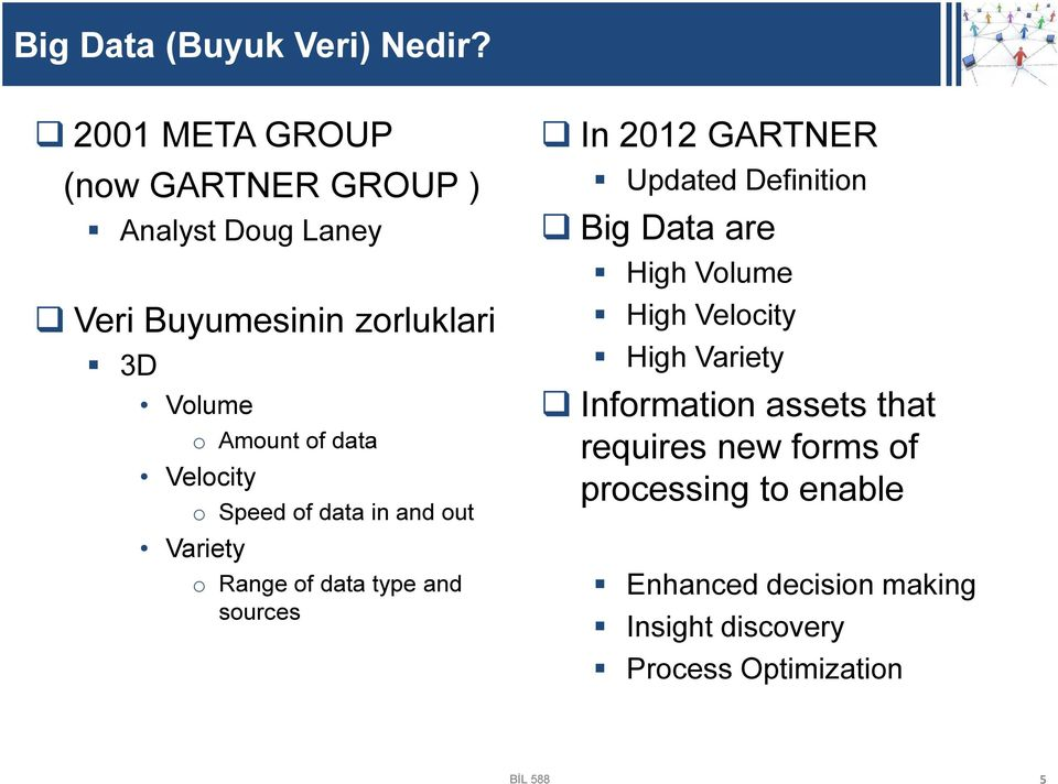 Velocity o Speed of data in and out Variety o Range of data type and sources In 2012 GARTNER Updated