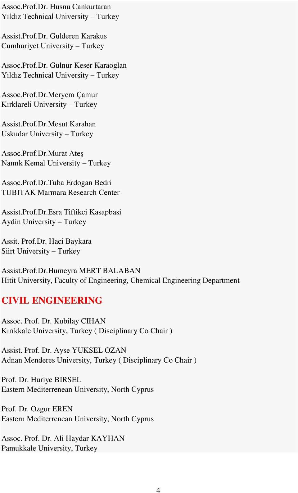 Prof.Dr.Esra Tiftikci Kasapbasi Aydin University Turkey Assit. Prof.Dr. Haci Baykara Siirt University Turkey Assist.Prof.Dr.Humeyra MERT BALABAN Hitit University, Faculty of Engineering, Chemical Engineering Department CIVIL ENGINEERING Assoc.