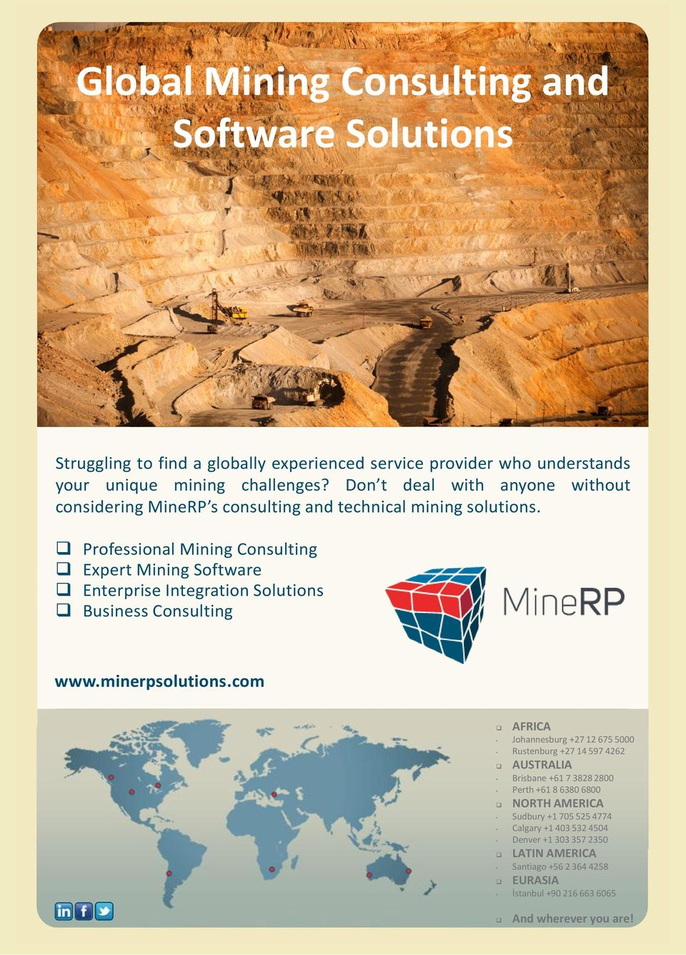 Professional Mining Consulting Expert Mining Software Enterprise Integration Solutions Business Consulting www.minerpsolutions.