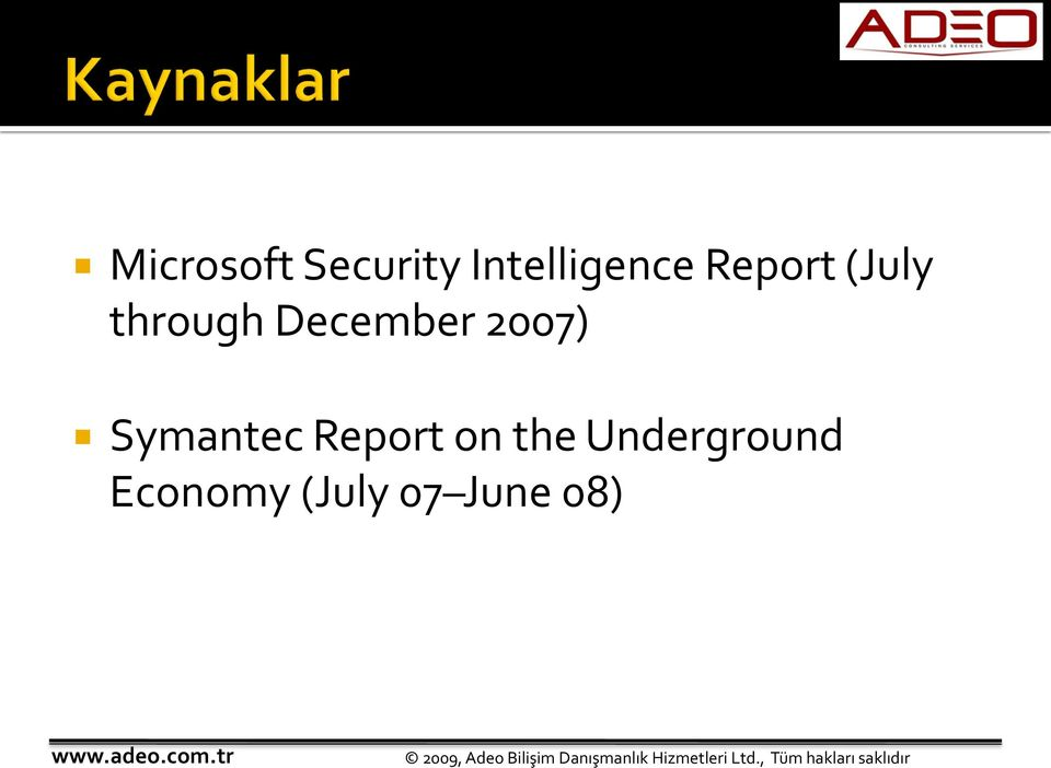 2007) Symantec Report on the