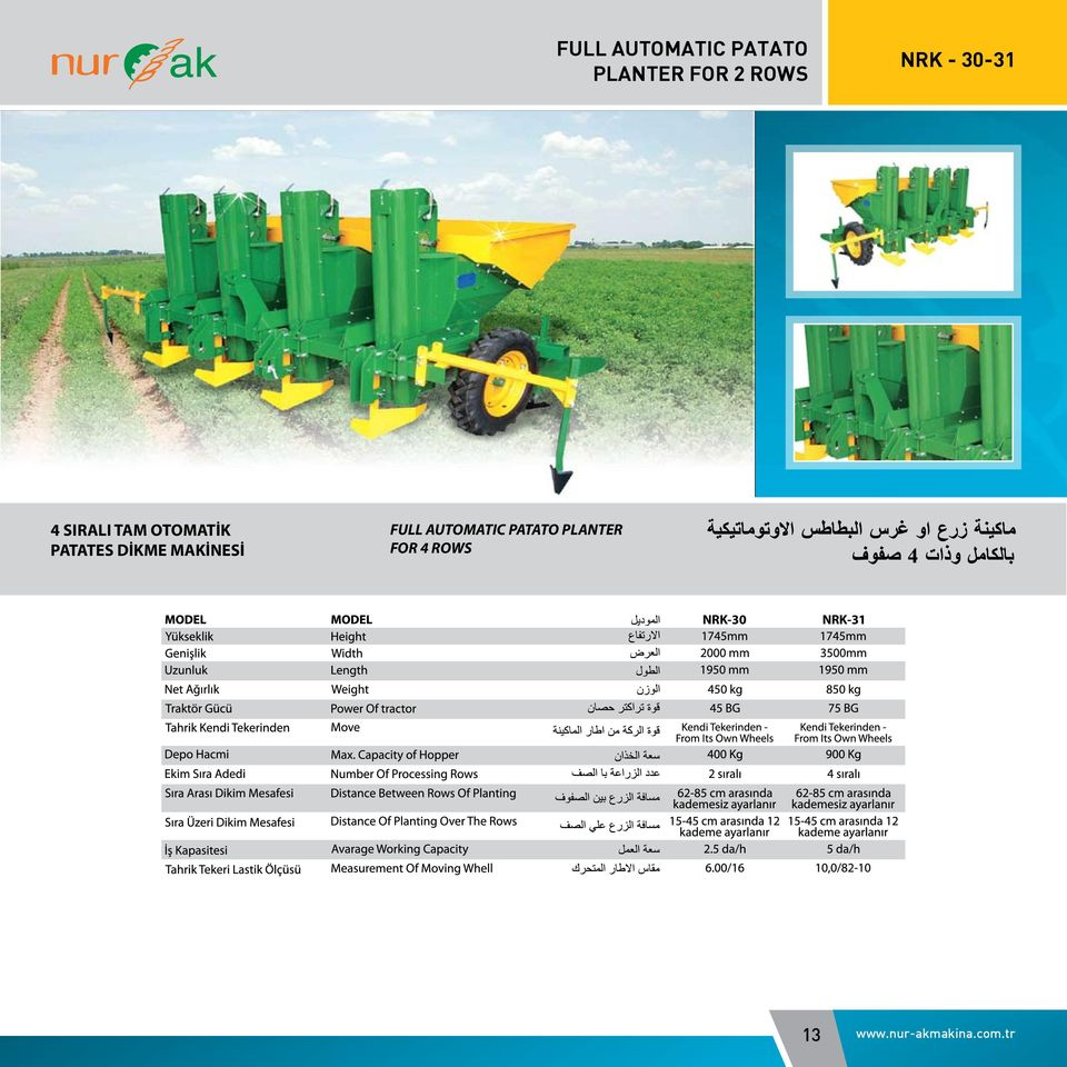 MAKİNESİ FULL AUTOMATIC PATATO PLANTER FOR 4