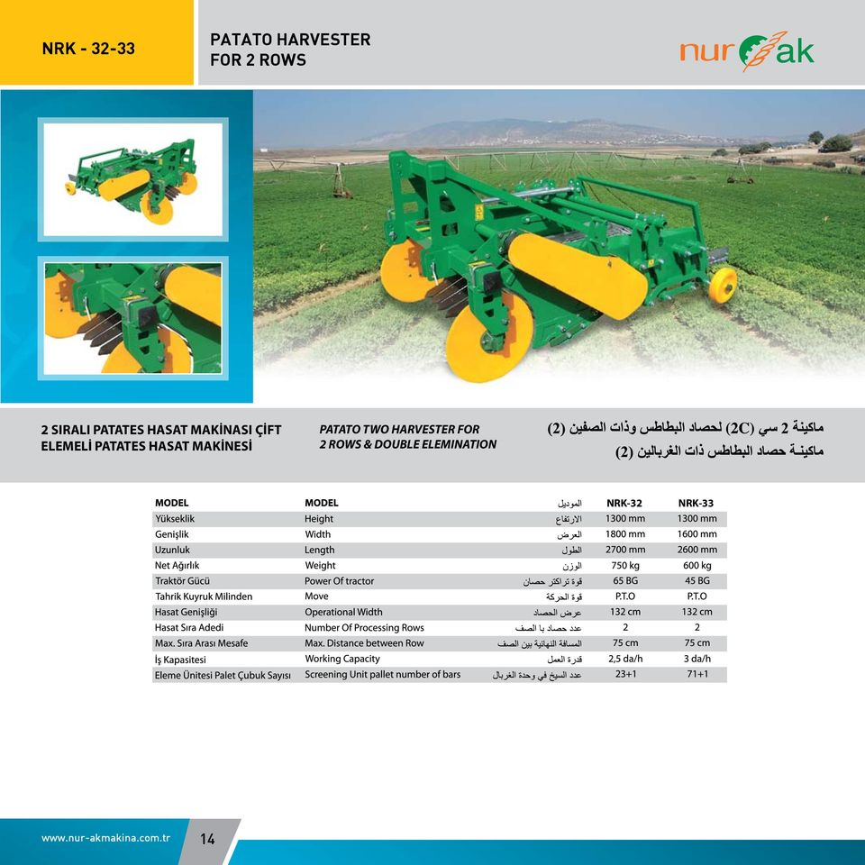 MAKİNESİ PATATO TWO HARVESTER FOR 2 ROWS & DOUBLE