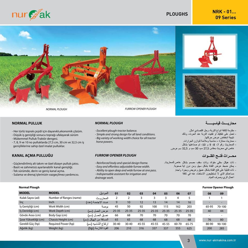 NORMAL PLOUGH - Excellent plough-tractor balance. - Simple and strong design for all land conditions. - Big variety of working width choice for all tractor horse powers.